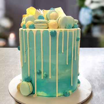 Baby blue buttercream cake