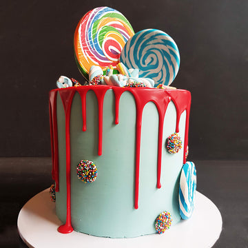 Baby blue candy cake