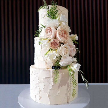 Buttercream Wedding Cake 3 tier pale pink floral – increased height