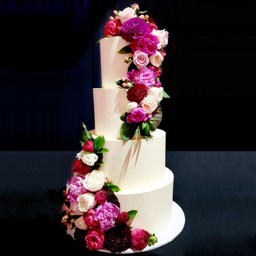 Buttercream wedding cake4 tier red floral  increased height