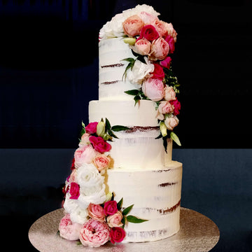 Buttercream naked cake3 tier pink and red floral – increased height