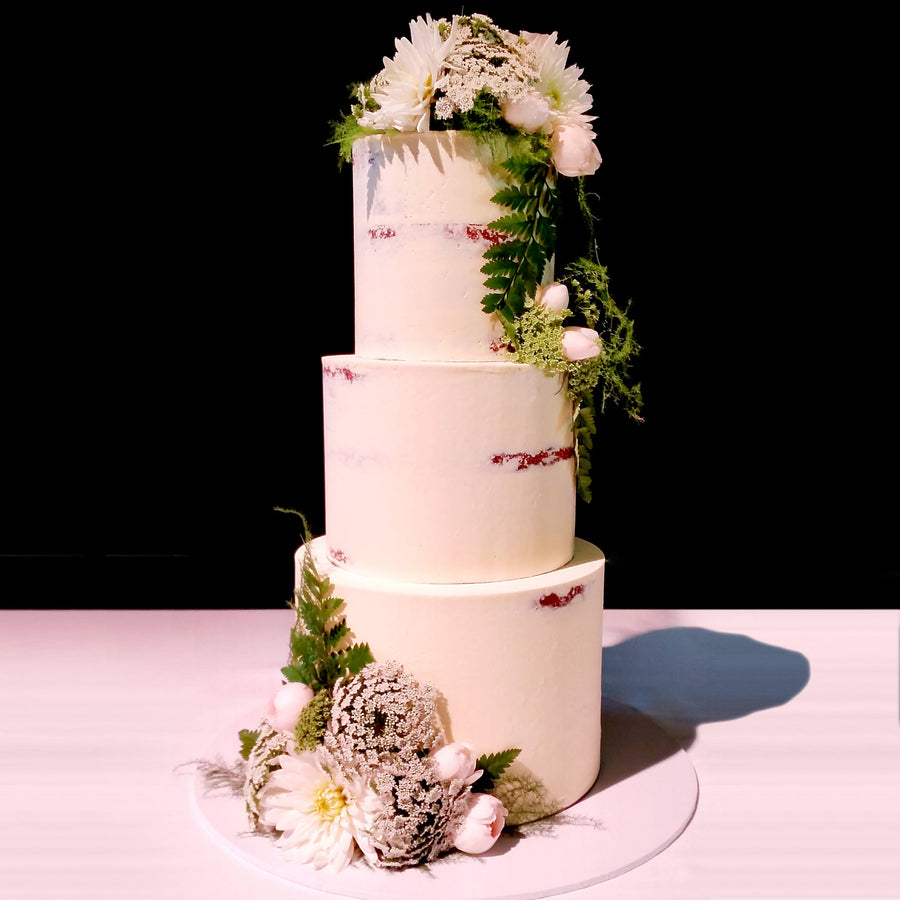 Buttercream naked wedding cake3 tier natural floral – increased height