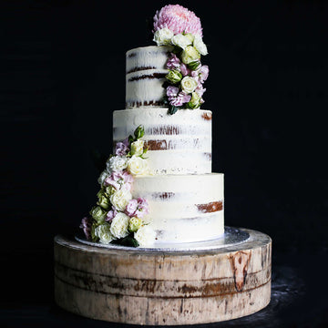 Buttercream naked cake3 tier purple floral – increased height