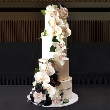 Buttercream naked wedding cake 4 tier orchid floral – increased height