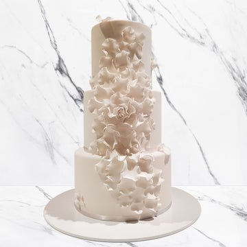 Fondant covered wedding cake – 3 tier sugar flower detail