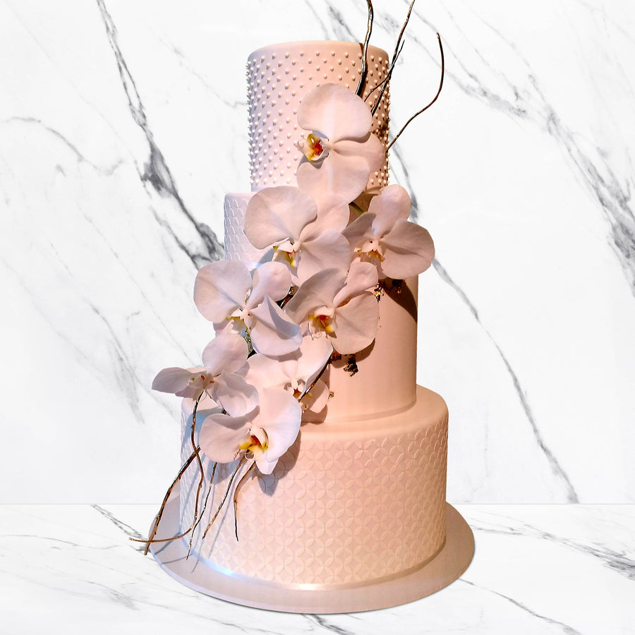 Fondant covered floral wedding cake 3 or 4 tiers