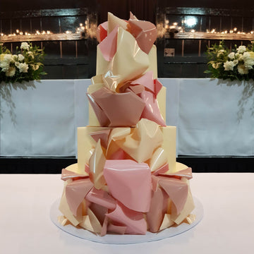White chocolate ganache wedding cake sails garnish 4 tier – standard height