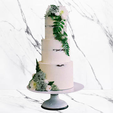 Naked smooth wedding cake 3 tier rustic floral