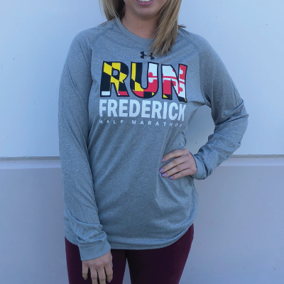 Women's Run Fredrick Flag Long Sleeve Gray