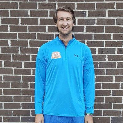 Men's 26.2 Fort UA Tech 1/4 Zip- Sky Blue/Orange