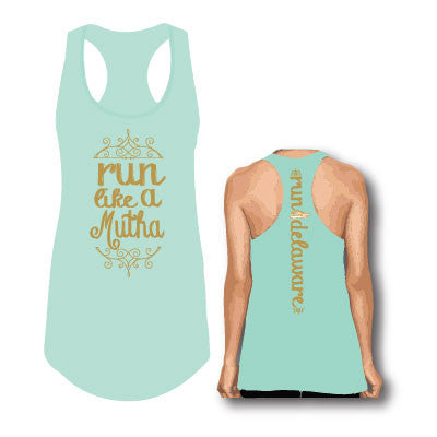 Women's Run Like a Mutha Tank- Mint