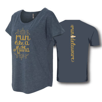 Women's Run Like a Mutha Tee- Navy