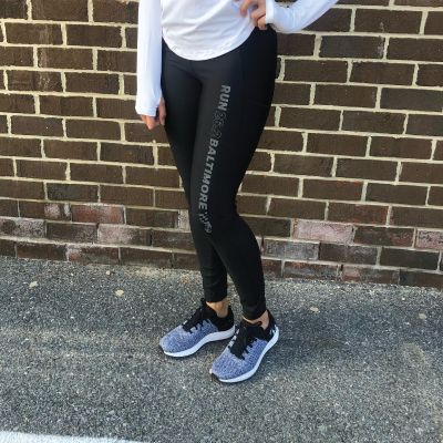 Women's 26.2 Black Reflective Legging with Pocket