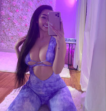 Load image into Gallery viewer, Tie Dye Hollow Jumpsuit- purple