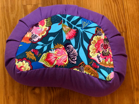 Floral Express/Meadow Violet Crescent Zafu Meditation Cushion