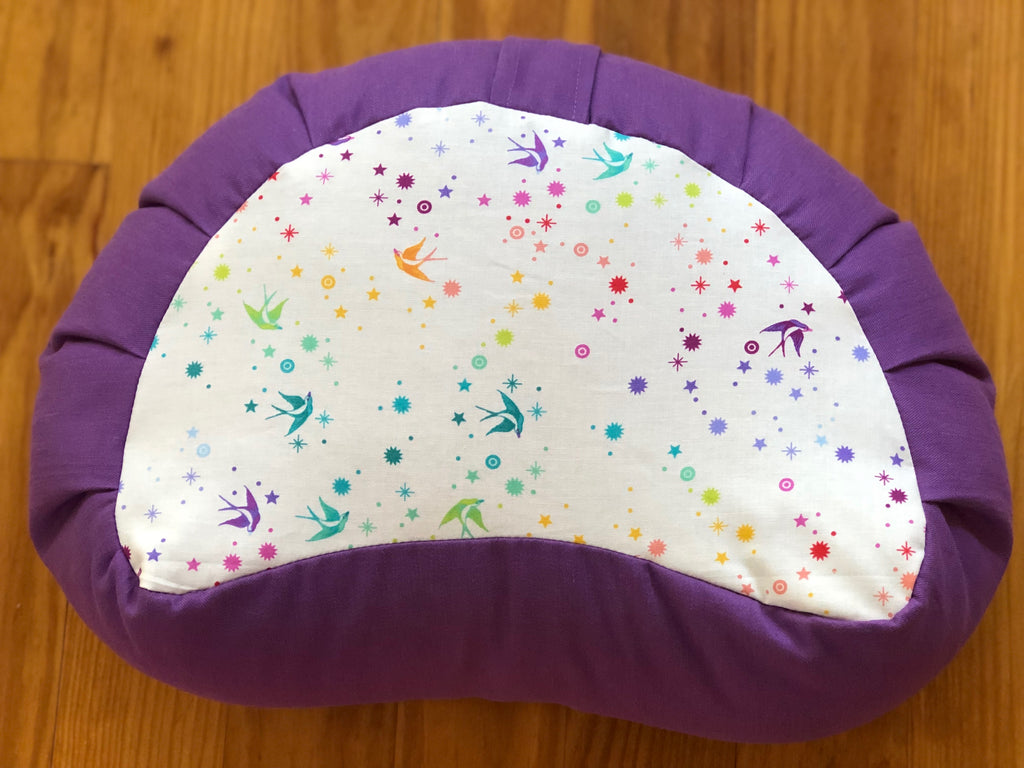Fairy Dust/Meadow Violet Crescent Zafu Meditation Cushion