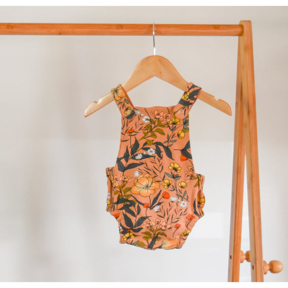 Baby/Kids Cross-back Romper | Earthy Floral
