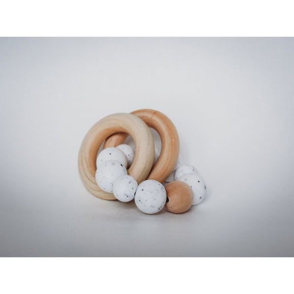 Wood  Sensory Teether Ring| Baby| White Speckled