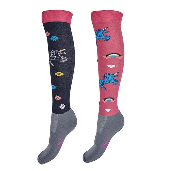 Elico Riding Socks Unicorn Pink
