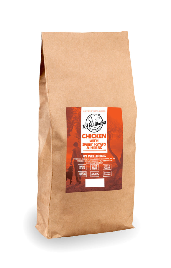 K9 Wellbeing Grain Free Adult Chicken & Sweet Potato 15kg