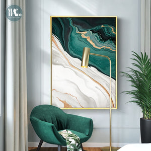 Modern Abstract Gold foil lines Green Canvas Art Paintings  Home Decor