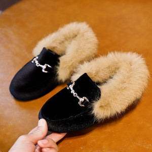 Girls Velvet Loafer Best  Warm Fur Shoes