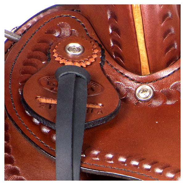 Dakota Western Trail Saddle 214 (Franches-Montagnes & Freiberger) Brown Badge