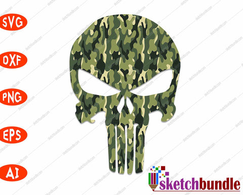 Army Skull SVG PNG Cutting Printable Files