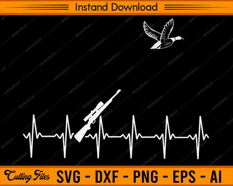 Duck Hunting Heartbeat - SVG PNG Cutting Printable Files