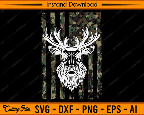 Whitetail Buck Deer Hunting American Camouflage Flag - SVG PNG Cutting Printable Files