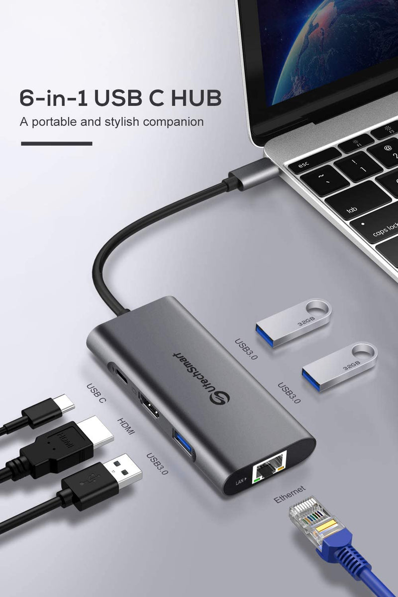 USB C Hub, 6  In 1 USB C to HDMI Adapter with 1000M Ethernet