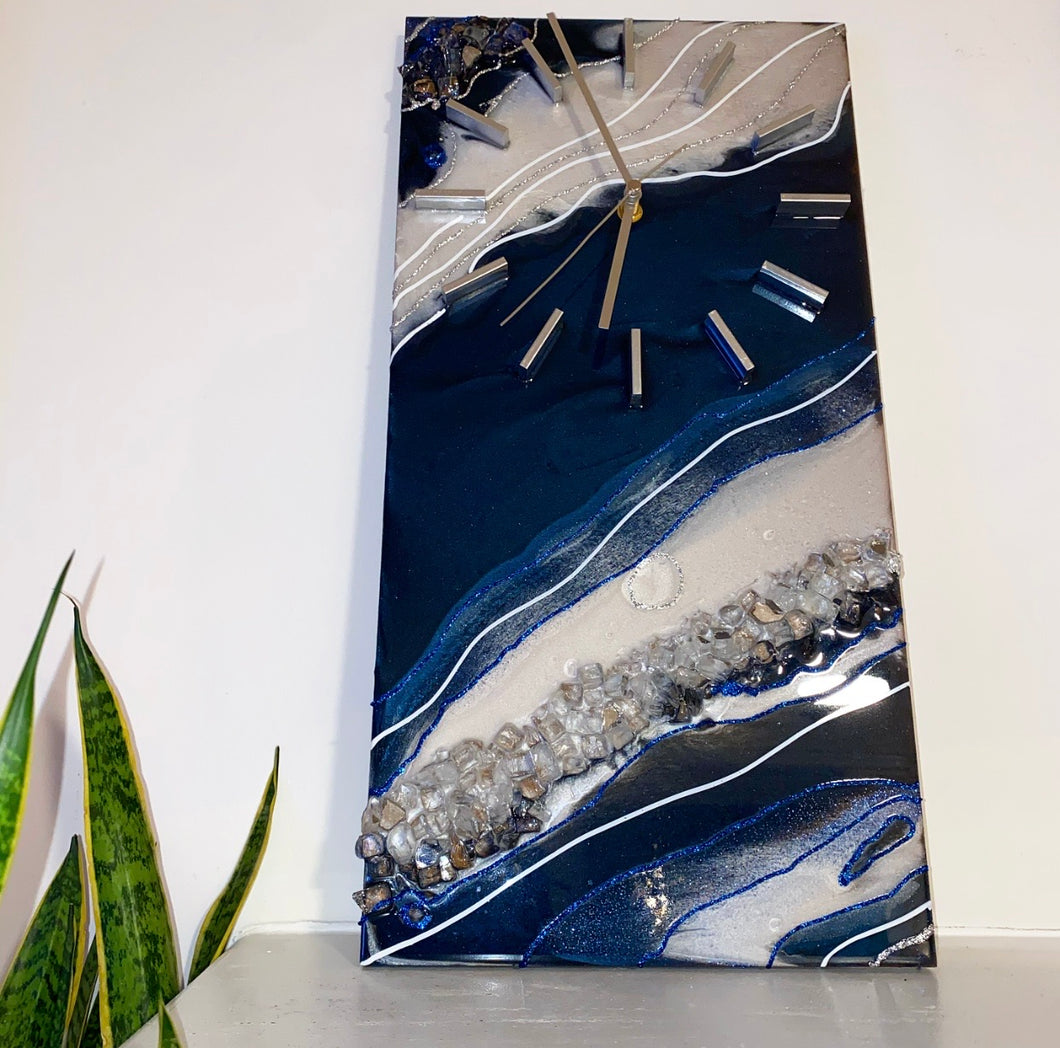 "10"" x 20"" Blue Diamond Clock"