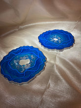 Load image into Gallery viewer, Blue Geode Coaster Set