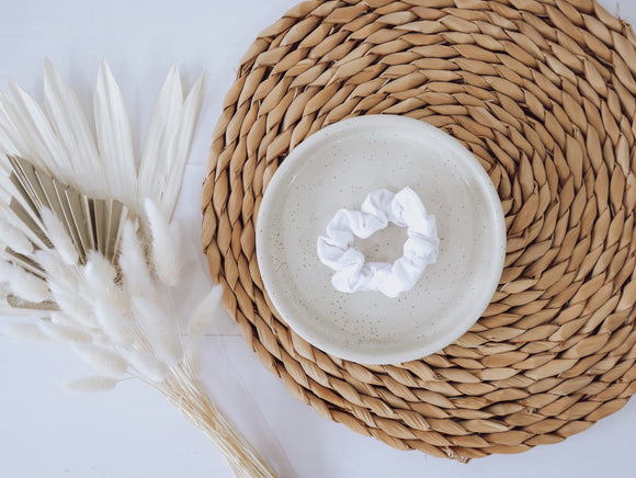 Mini Scrunchie - White embroided