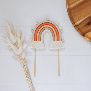 Cake topper - Rainbow with timber bead