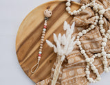 Beaded chain with clip - beech wood round