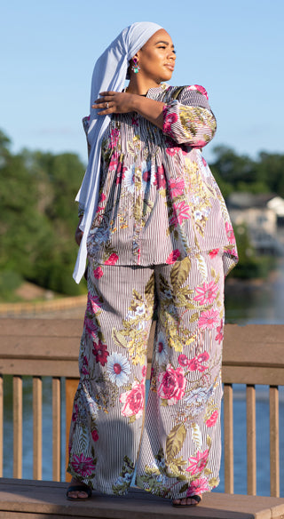 Floral Striped Palazzo Pant - Styled by Zubaidah