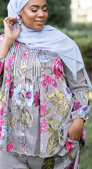 Floral Striped Pintuck Blouse - Styled by Zubaidah