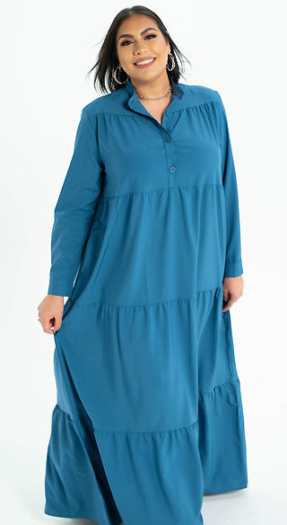 Cerulean Blue Tiered Dress - Styled by Zubaidah