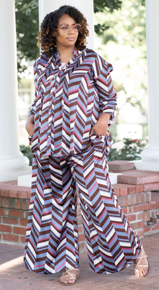 Periwinkle Chevron Palazzo Pant - Styled by Zubaidah