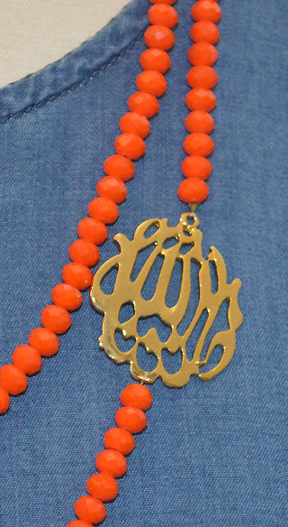 "Tangerine ""Masha Allah"" Bib Necklace - Styled by Zubaidah"