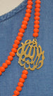 "Orange ""Masha Allah"" Bib Necklace"