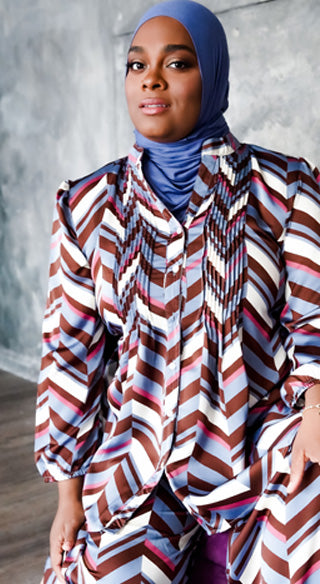 Periwinkle Chevron Pintuck Blouse - Styled by Zubaidah