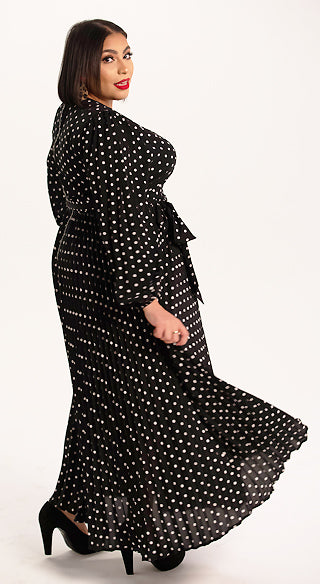 Polka Dot Pleated Midi Dress - Styled by Zubaidah