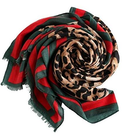 Red & Green Leopard Printed Hijab - Styled by Zubaidah