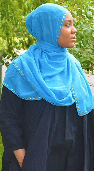 Sapphire Gold Studded Hijab - Styled by Zubaidah