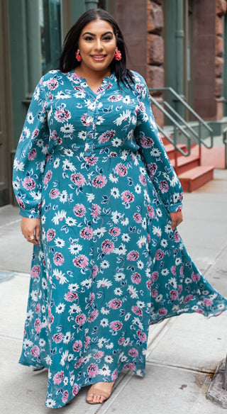 Turquoise Floral Lynn Dress - Styled by Zubaidah