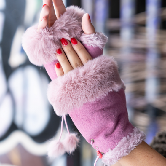 Fingerless Soft Suede Effect and Faux Fur Gloves