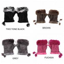 Load image into Gallery viewer, Fingerless Soft Suede Effect and Faux Fur Gloves