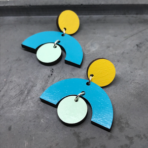 Arch Geo Statement Earrings in Turquoise